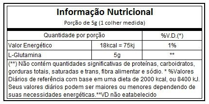 Tabela Nutricional l-glutamine Black Skull