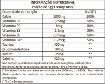 Tabela Nutricional Pre-HD Bodyaction