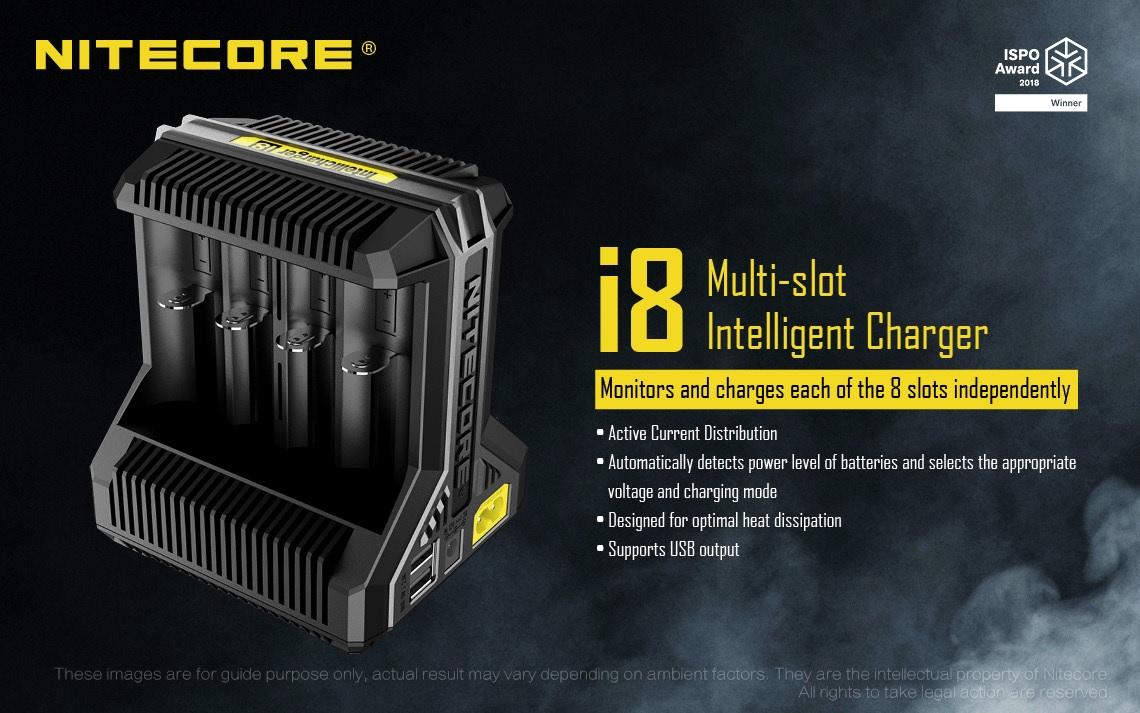 Carregador Inteligente de Baterias i8 - Nitecore
