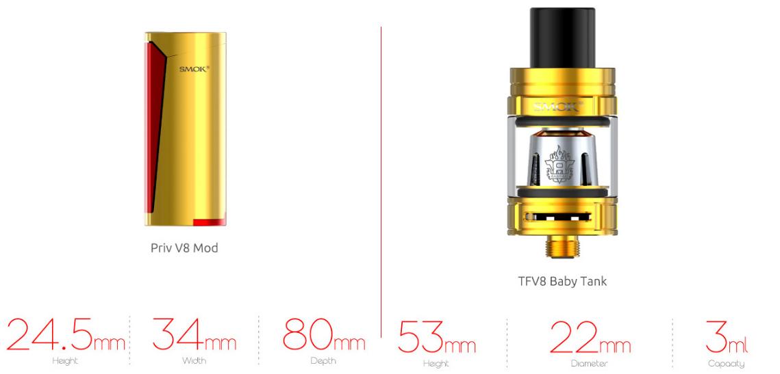 Kit PRIV V8 60w c/ TFV8 Baby - Smok