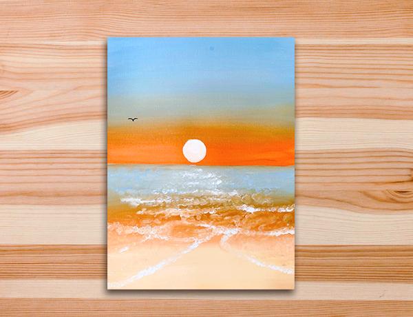 Pintura tela beira-mar, oceano