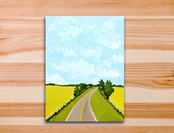 Pintura acrílica estrada, Aonde tenha sol