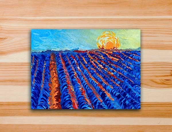 Pintura em tela campo de lavandas