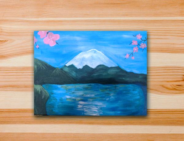 Pintura em tela monte fuji sakuras