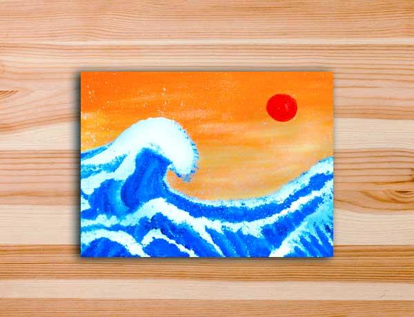 Pintura em tela releitura grande onda