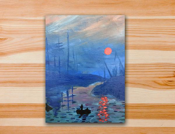 Pintura em tela releitura monet impressão nascer do sol