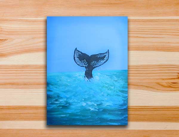 Pintura em tela mar aberto baleia oceano