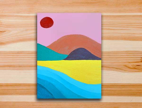Pintura em tela moderna colorida marte