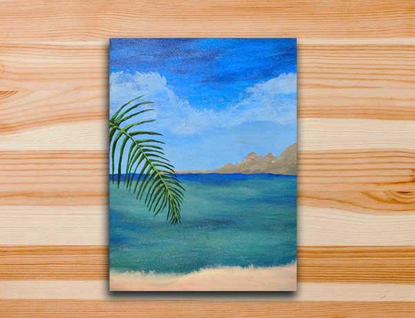 Pintura em tela praia férias no stress