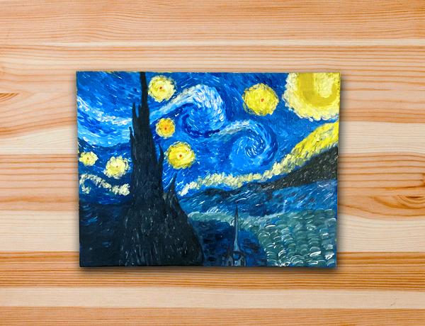 Pintura em tela releitura van gogh noite estrelada