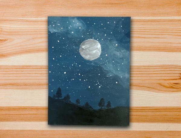 Pintura em tela paisagem noite aula estrelas