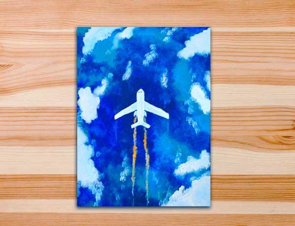Pintura em tela avião mar oceano o viajante viagem