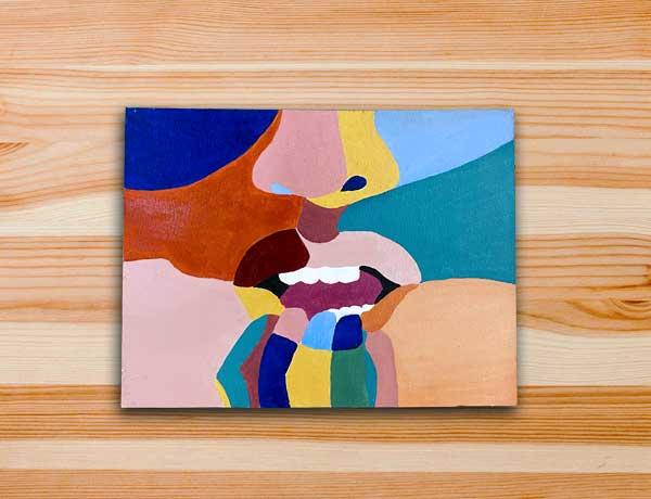 Pintura em tela pop art boca colorida