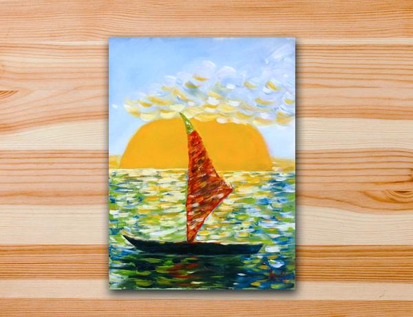 Pintura em tela mar por do sol praia barco
