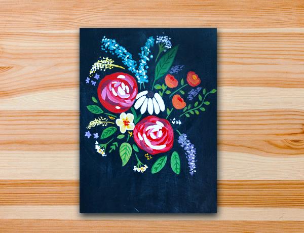 Pintura em tela aula primavera flores floral estampa acrílica
