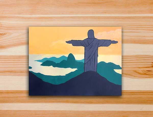 Pintura em tela Cristo Redentor Rio de Janeiro