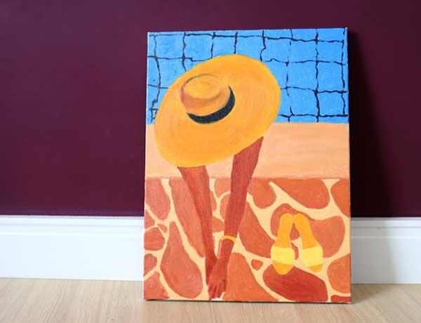 Pintura em tela repouso férias chapéu piscina mulher