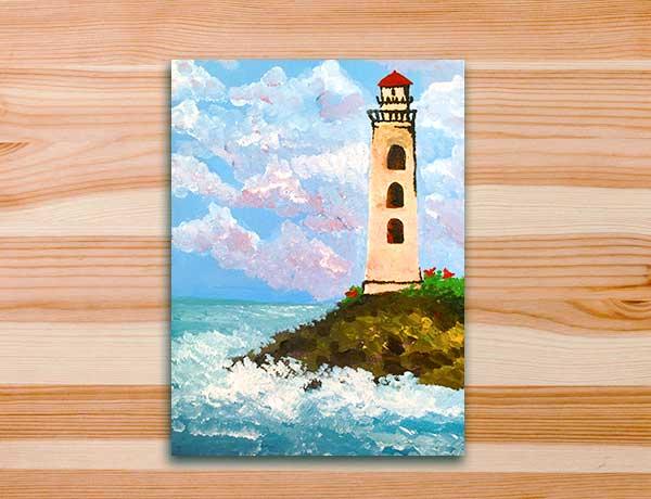 Pintura em tela mar oceano farol terra a vista praia