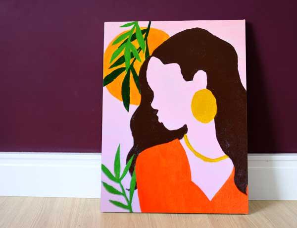 Pintura em tela pré-desenhada tropical mulher tropicalia acrílica