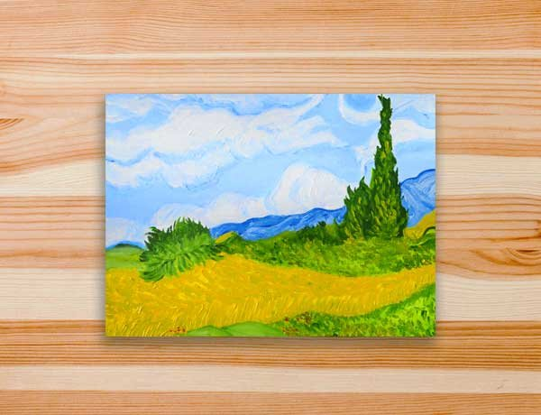 Pintura releitura campo de trigo van gogh