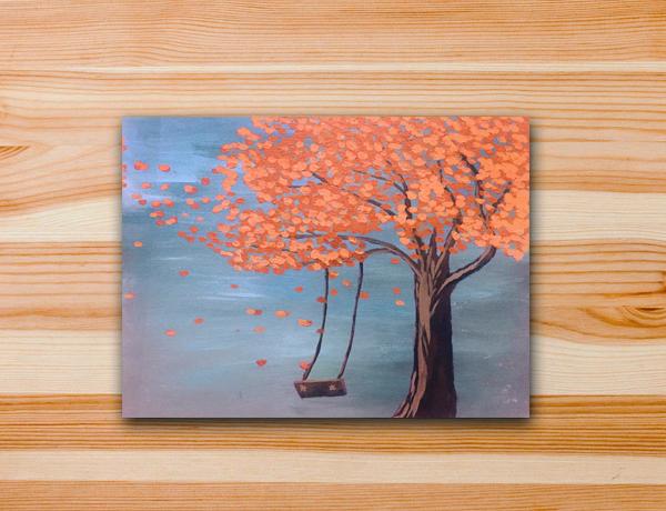 Pintura em tela arvore outono paisagem