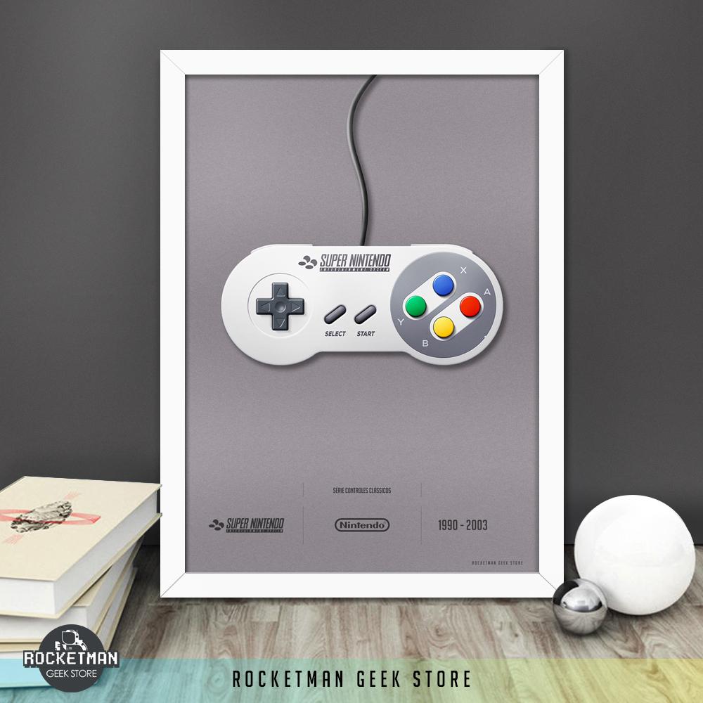Poster Controles Clássicos Super Nintendo Loja Rocketman