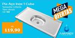 PIA AÇO INOX 1 CUBA 120 X 54