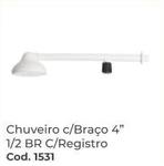 CHUVEIRO COM BRAÇO 4 BRANCO 1X2 COM REGISTRO RIP REBOUÇAS