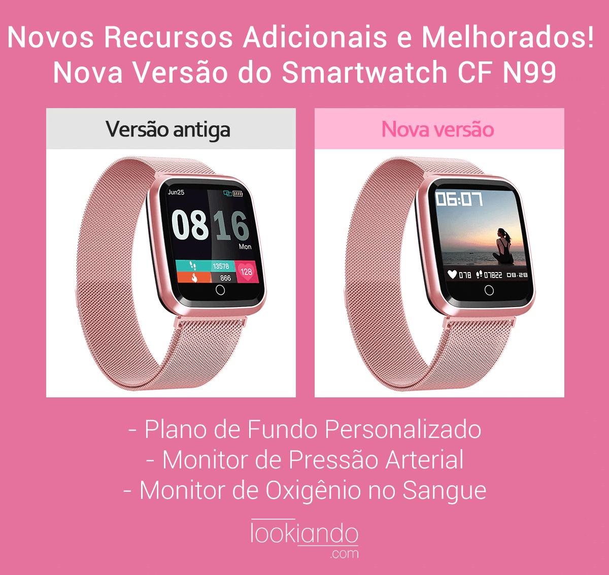 Relógio Eletrônico Smartwatch CF N99 Rosê Gold + 1 Pulseira de Brinde