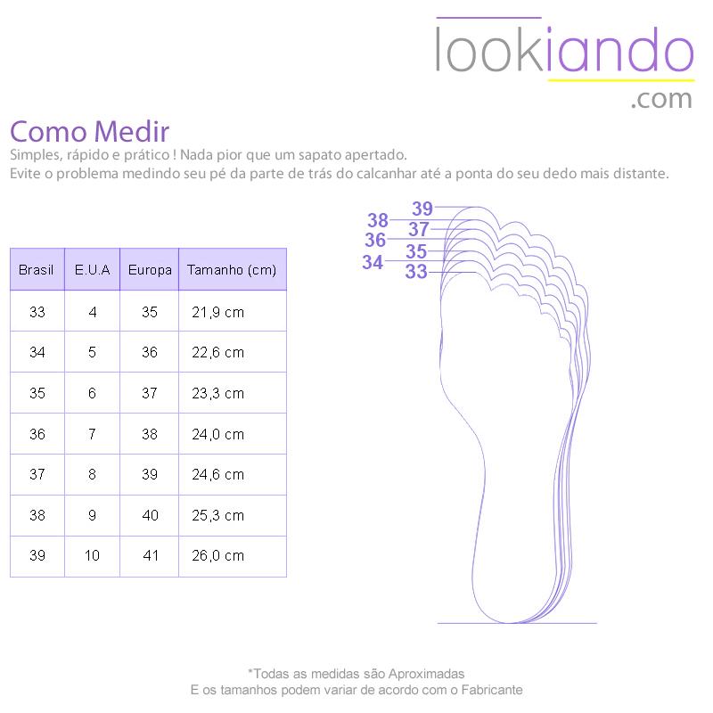 Tabela de Medidas para Calçados Lookiando