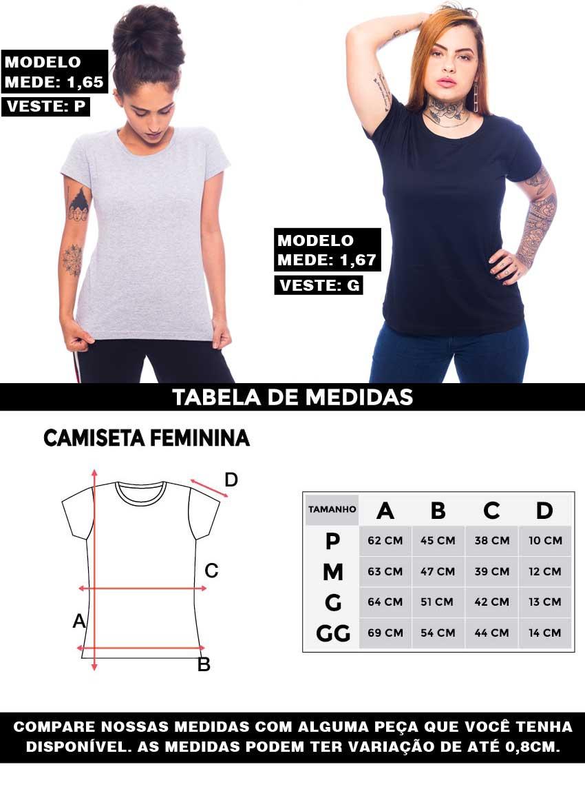 Tabale da medidas camiseta feminina