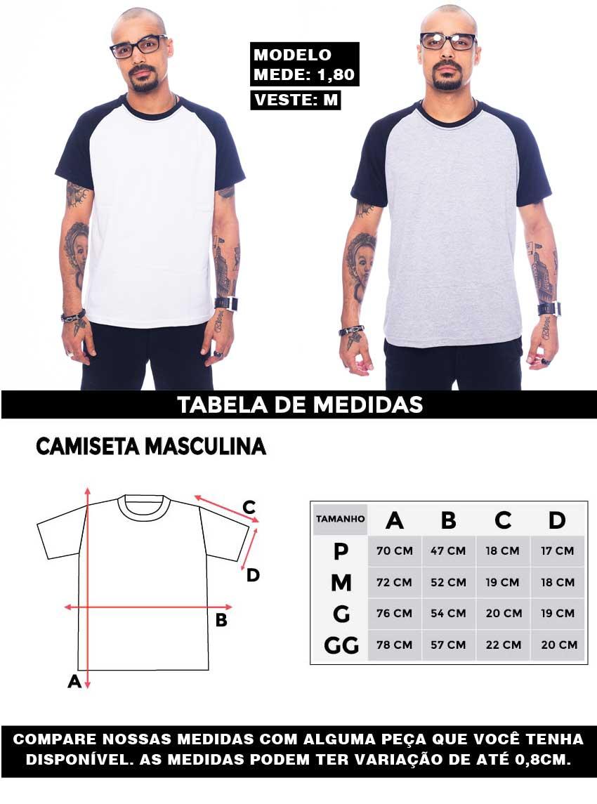 Tabela de Medidas Camiseta Raglan Masculina