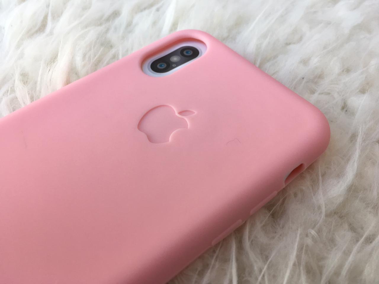 capa iphone x - silicone flexivel rosa