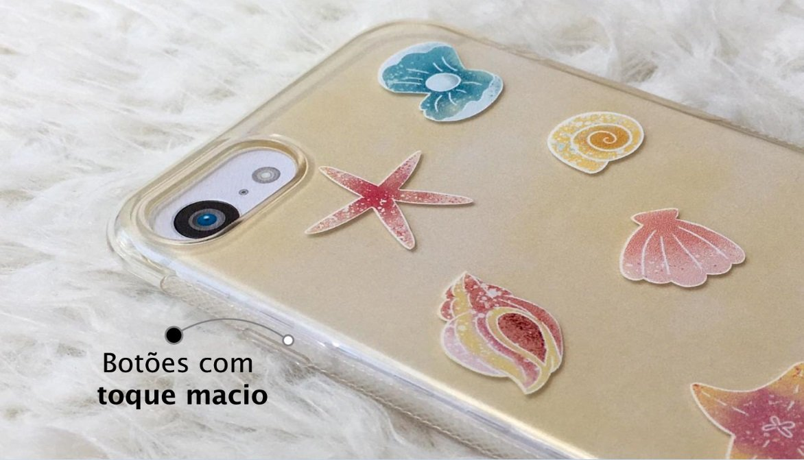 Capinha para iPhone 8 Plus - Feminina - Conchas do mar