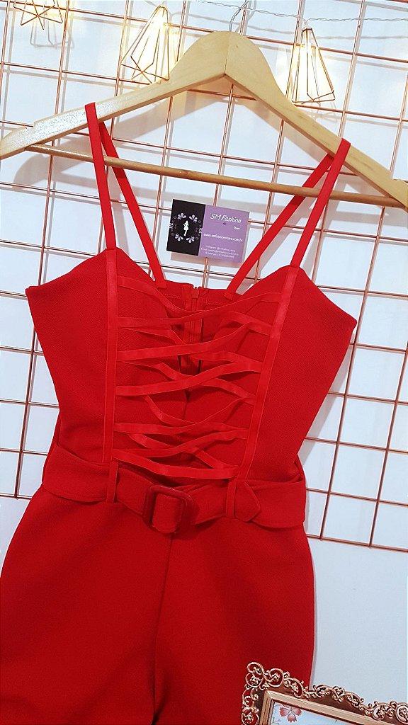 1d5c408d6 Macacão Vermelho Longo Flare Com Cinto - Amanda - SM Fashion Store