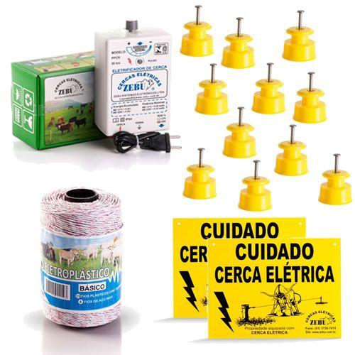 Cerca Eletrica para Gado - Kit Eletrificador + Isoladores + Fio Eletroplastico + Placas
