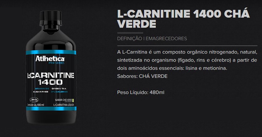 L-Carnitine 1400 (480ml)  - Athletica Nutrition