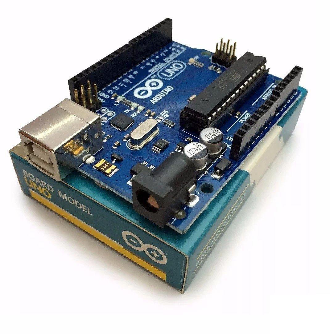 Arduino uno r original itália cabo usb caixa