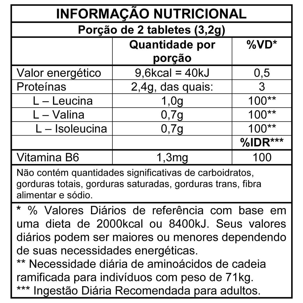 TopWay Suplementos - BCAA 1,2g -120 Tabs - Max Titanium - Tabela Nutricional