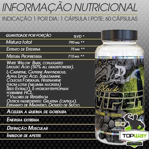 TopWay Suplementos -Black Viper 60 capsulas - Dragon Pharma-Tabela