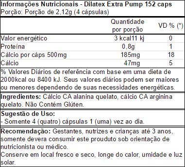 TopWay Suplementos - Dilatex 152 Cápsulas - Power Supplements - Tabela Nutricional