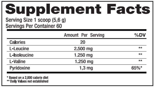 TopWay Suplementos - Bcaa Powder 300g - Black Skull -Tabela Nutricional