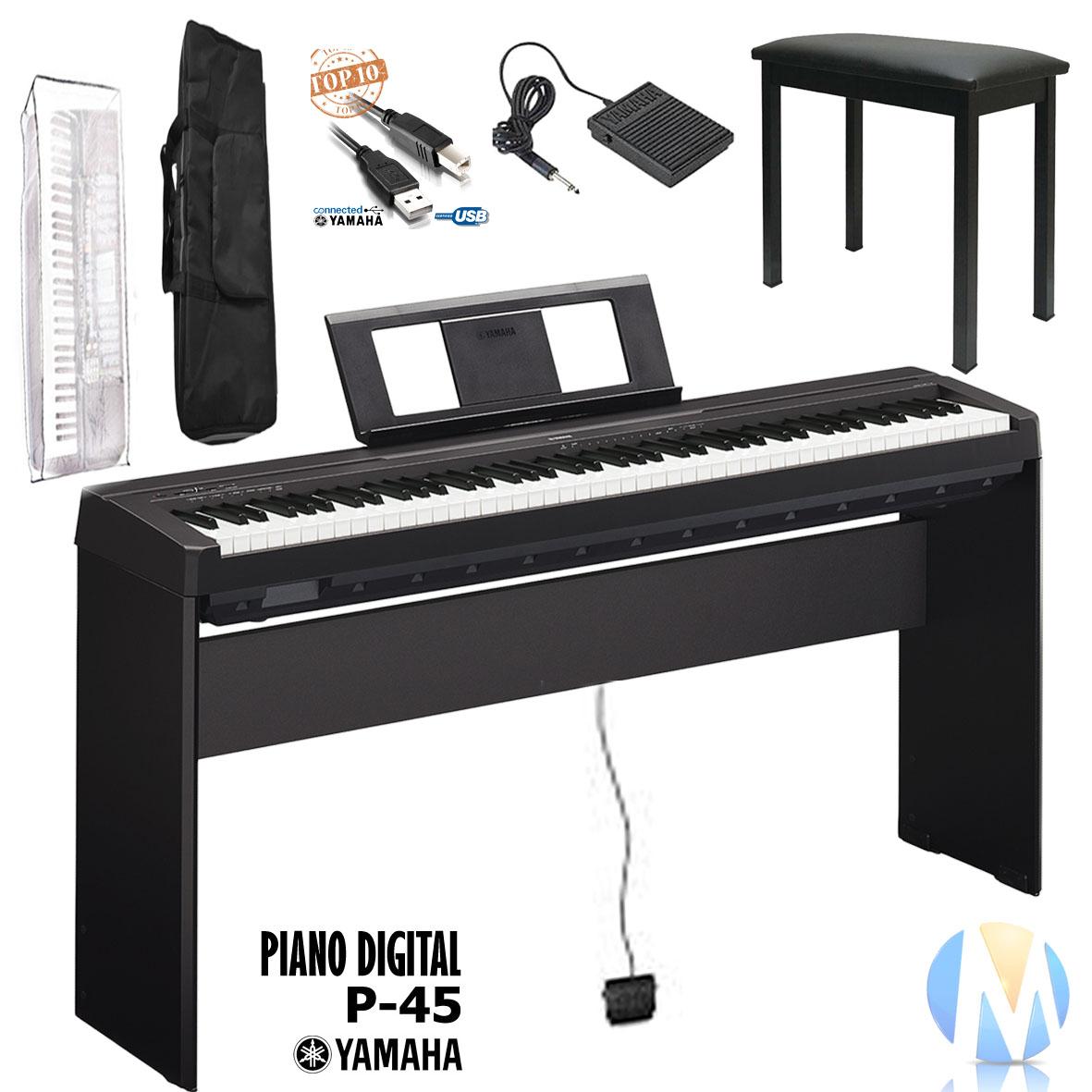 kit piano digital yamaha p45 estante madeira original l85 r em mercado livre. Black Bedroom Furniture Sets. Home Design Ideas