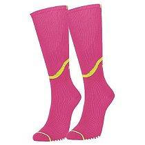 Meia de Compressão Selene 3/4 Esportiva Feminina - Pink+Amarelo 34-39