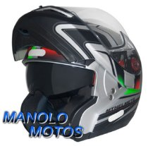 Capacete MT Optimus SV Tricolore Prata Fosco (Escamoteável)