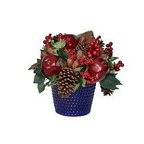 Vaso de Cdrâmica Azul com enfeites de Natal