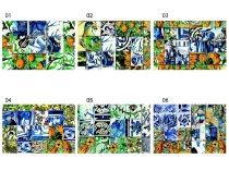 Jogo Americano Retangular - Azulejos Coloridos - (Conjunto de 6 unidades)