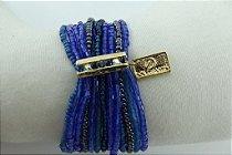 Pulseira de Miçangas Importadas e Vidrilhos Azul com Metal Banho em Ouro AntiAlérgico e Cristais Swarovski Azul