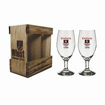Kit Bock - Embalagem De Madeira Personalizada Com 2 Copos 300ml Para Cerveja