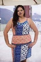 Vestido Crepe Estampado Plus Size